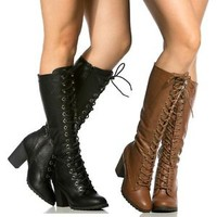 Black Chestnut Riding Combat Lace up Knee high Boots Women's Chunky Heel shoes