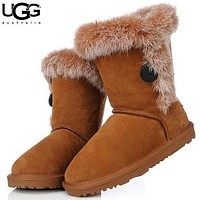 U UGG fashion casual men and women with velvet button snow boots