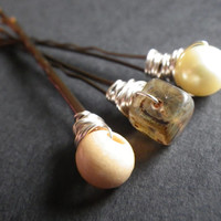 Beach Blonde- Boho- Glass and Wood Mix- Gold- Yellow- Amber- Wire-wrapped- Beaded Bobby Pins- Summer Hair- Fashion- Accessory- Gift for Her