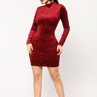 Bordeaux Velvet Dress - Wine