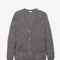 Saint Laurent Grunge Oversized V Neck Cardigan In Heather Grey Metallic Polyamide, Acrylic And Mohair | YSL.com