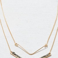 AEO Women's Tiered Chevron Necklace (Gold)