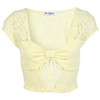 Lemon Bow Tab Lace Crop Top - Apparel  - New In
