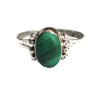 1970's Oval Malachite Ring In Sterling Silver, Size 5 1/2