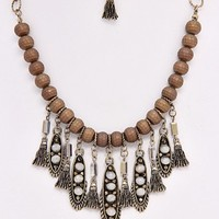 Brown-Beaded-Jewel-Fringe-Necklace/Earring-Set