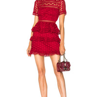 self-portrait High Neck Star Lace Panelled Dress in Red   FWRD