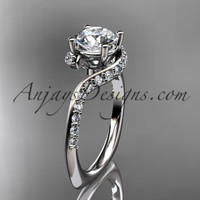"Unique 14k white gold engagement ring, wedding ring with a ""Forever One"" Moissanite center stone ADLR277"