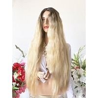 "OLIVIA BROWN BALAYAGE Hair Lace Wig 26""  Beautiful Ombre Color Soft Malibu Beach Waves 1019"