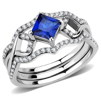 Stainless Steel Rings DA272 Stainless Steel Ring with Synthetic in London Blue