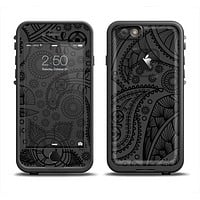 The Dark Gray & Black Paisley Apple iPhone 6/6s Plus LifeProof Fre Case Skin Set