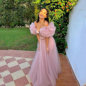Sevintage Ruffles Off the Shoulder Prom Dresses Sheer Bodice Long Formal Woman Evening Pink Dress Custom Made Princess Party Gowns