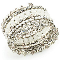 INC International Concepts Bracelet, Silver-Tone Rhinestone and White Bead Coil Bracelet - All Fashion Jewelry - Jewelry & Watches - Macy's