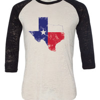 Texas State Flag in State Burnout Baseball T Shirt