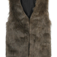 Brown Peacock Striped Fur Coat