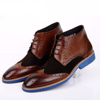 Brogue Leather And Swede Ankle Boots