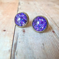 G L I T T E R - Bright Purple Glitter Sparkle Photo Glass Cab Circle Antique Bronze Post Stud Earrings