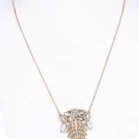NECKLACE / PAVE CRYSTAL STONE / METAL LEAF / FLORAL / MARQUISE CUT LUCITE / LINK / CHAIN / 30 INCH LONG / 2 1/4 INCH DROP / NICKEL AND LEAD COMPLIANT
