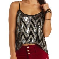 Sequin Chevron Swing Crop Top by Charlotte Russe - Black Combo