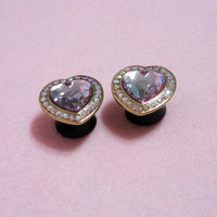 Pastel Sweetheart Rhinestone Plugs  Pair - FOUR COLORS Gold Silver Mint Pink Crystal