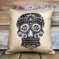 Day of the Dead Pillow Cover Throw Pillow Día de by TheWatsonShop