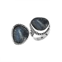 AR-9008-DZB-7'' Sterling Silver Ring With Druzy