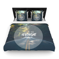 """Ann Barnes """"The Adventure Begins"""" Typography Nature Woven Duvet Cover"""