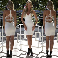 Fashion Women Dress Hip Deep V Backless Dress Summer Sexy Dress = 1956549828