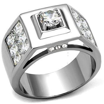 Mens Fashion Rings TK2220 Stainless Steel Ring with AAA Grade CZ