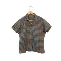 Plaid 60s Shirt Gray Button Up Tomboy Tshirt Cropped Blouse 1960s Short Sleeve Shirt Boho Retro Preppy MOD Brown Louannes Vintage Small