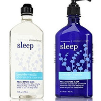 Bath and Body Works Aromatherapy Stress Relief Lavender Vanilla 10 Oz Body Wash & Foam Bath and 6.5 Oz Body Lotion Bundle (Lavender Vanilla)