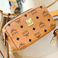 MCM Fashion New More Letter Print Shoulder Bag Crossbody Bag Brown