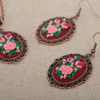 Rococo handmade embroidered dangle vintage earrings beautiful accessories gift