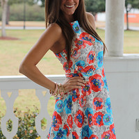 Perfect Pansies Dress, Red/Blue