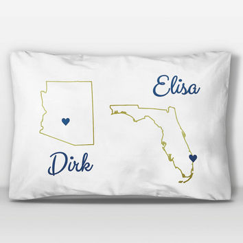 Two States Love Custom Pillow Case, T-Shirt Pillow Case, Standard Pillow Case, Dorm Decor, Dorm Room Decor, Personalized Navy + Gold Decor