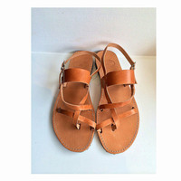 Leather Sandals with straps handmade shoes traditional  Greek style, leather shoes women