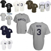 Grey 1929 White 1929 Throwback Babe Ruth Mickey Mantle Replica Jersey , Men's #3 #7Mitchell And Ness New York Yankees