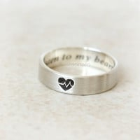 Personalized Heartbeat band Ring in sterling silver / Couples ring, initials, date, words