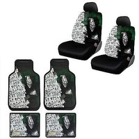 Licensed Official New Suicide Squad Joker Car Truck Front Rear Floor Mats & Seat Covers Set