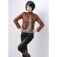 Women Short Leather Jacket Stand-Up Collar Brown Outerwear@XVR903br