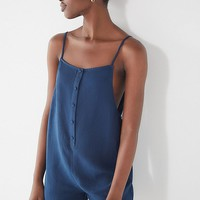 UO Button-Down Frayed Linen Romper | Urban Outfitters