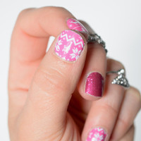 Pink and White Ugly Sweater Vinyl Nail Wraps, Winter, Christmas, Trendy, Festive, Knit Sweater