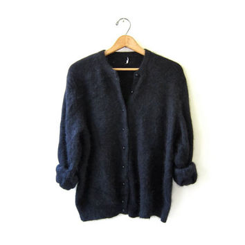 Vintage Angora Cardigan Sweater. Black Fuzzy Sweater. Soft Button Up Sweater.