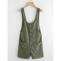 Button & Pocket Front Overall Shorts