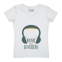 #Music is my #boyfriend-Female White T-Shirt