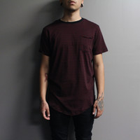 Kayden Stripe Pocket Tshirt (Black/Burgundy)