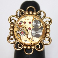 Steampunk Ring - Adjustable Gold Flower Vintage Watch Movement Men Steampunk Ring - Christmas Gift