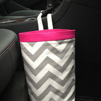 Car Trash Bag Chevron Gray With Hot Pink Band