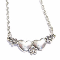 Sterling James Avery Heart and Flowers Necklace Choker