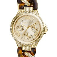 Women's Michael Kors 'Mini Camille' Crystal Encrusted Chain Link Bracelet Watch, 34mm - Gold/ Tortoise