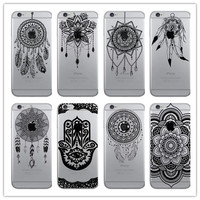 New Hot Feather Dream Catcher Phone Case For iphone 7 Plus 5S 6 6S 6Plus Soft TPU Black Lace Flower Transparent Back Cover Coque
